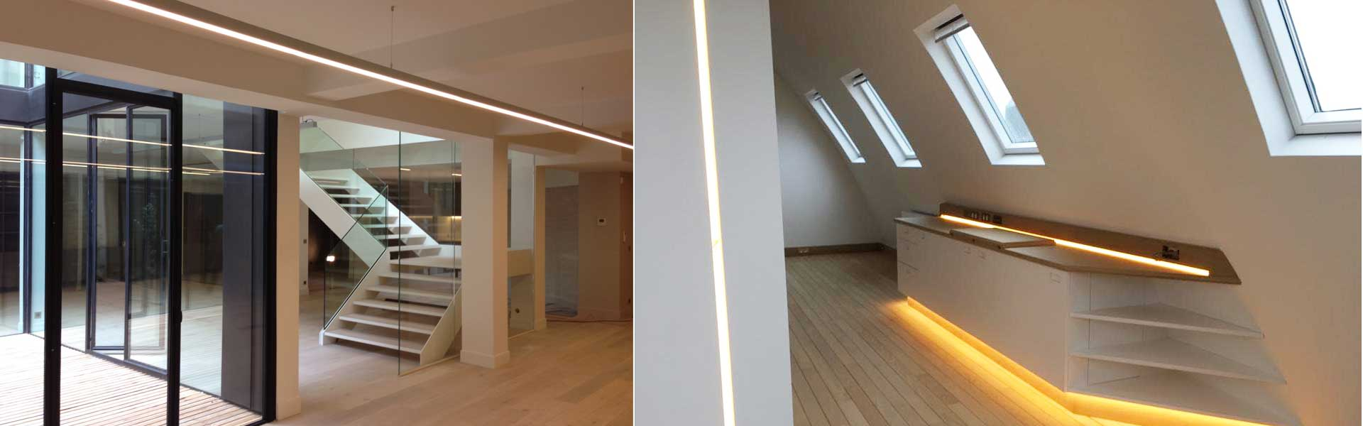 Création lumière dans un espace de bureau design.